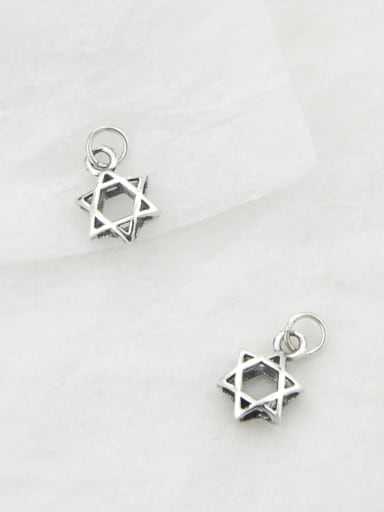 Vintage Sterling Silver  With Simple Retro Hollow Pentagram   Pendants