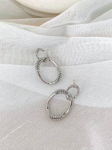 Alloy With Imitation Gold Plated Simplistic Hollpw Oval Drop Earrings