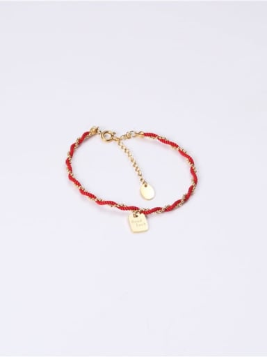 Titanium With Imitation Gold Plated Simplistic Red Rope Braid Square Bracelets