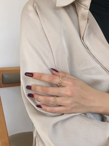 925 Sterling Silver With Gold Plated Simplistic Round Band Rings