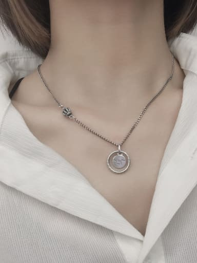 Vintage Sterling Silver With Platinum Plated Simplistic Hollow Round Necklaces
