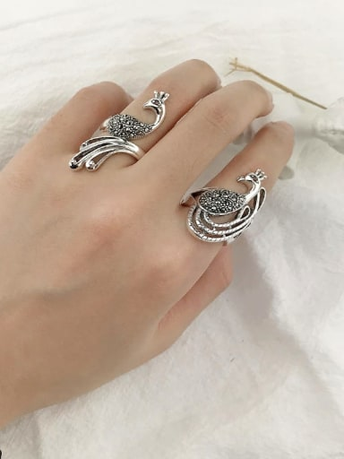Vintage Sterling Silver With Antique Silver Plated Vintage Phoenix Peacock Free Size Rings
