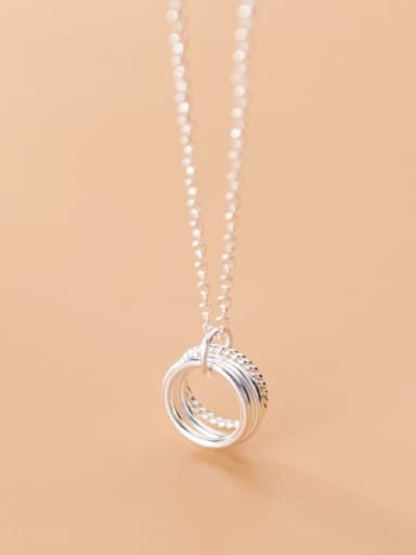 925 Sterling Silver With Platinum Plated Fashion Multi-layer  Round Necklaces
