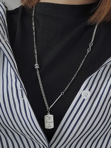 Vintage Sterling Silver With Antique Silver Plated Simplistic Geometric Power Necklaces