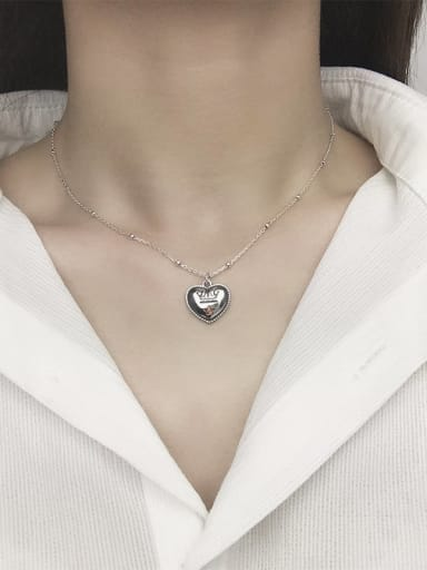 Vintage Sterling Silver With Antique Silver Plated Simplistic Heart Locket Necklace