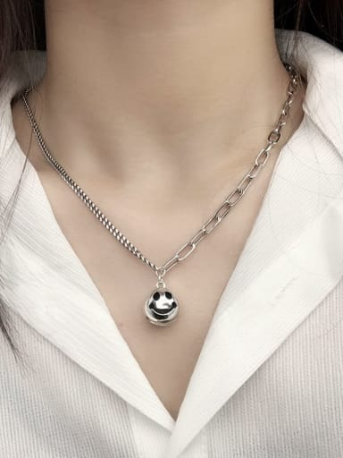Vintage Sterling Silver With Platinum Plated Fashion Round  Smiley Pendant Necklaces