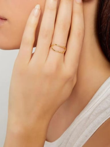 Titanium With Imitation Gold Plated Simplistic Geometric Band Rings