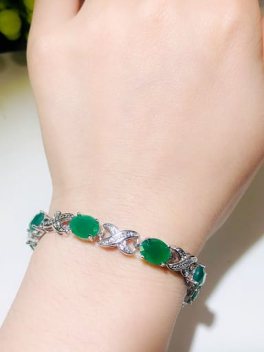 Copper With Platinum Plated Fashion Oval Bracelets