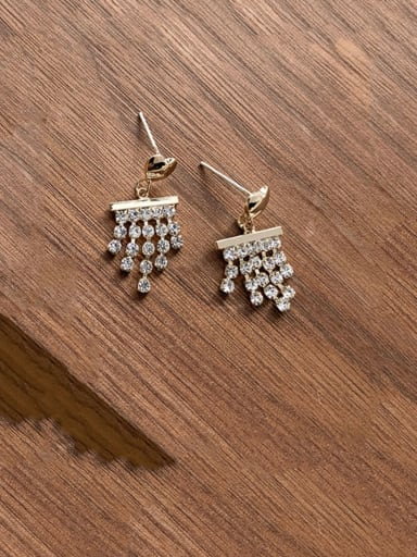 Alloy With Imitation Gold Plated Cute Love Rhinestone Chain Small Tassel Earrings