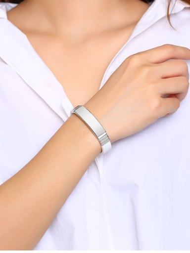 Stainless Steel With White Gold Plated Simplistic Geometric Bracelets