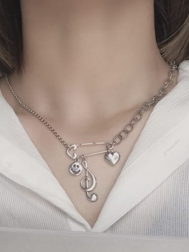 Vintage Sterling Silver With Platinum Plated Fashion Irregular Necklaces