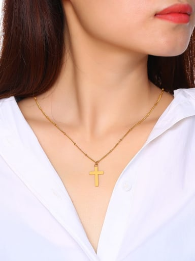 Stainless Steel With Gold Plated Simplistic Smooth Cross Necklaces