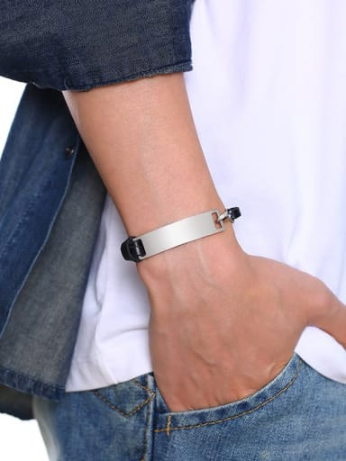 Stainless Steel With White Gold Plated Simplistic Square Bracelets