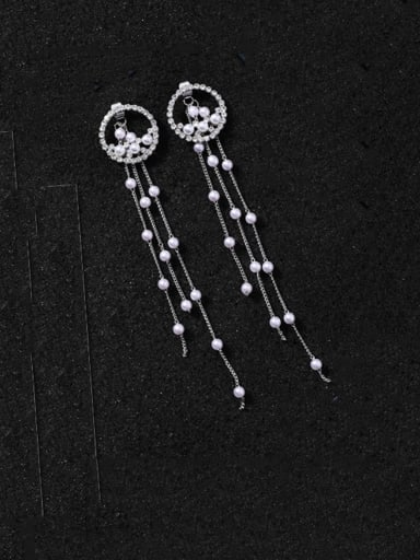 Alloy With Gold Plated Fashion Round Threader Earrings