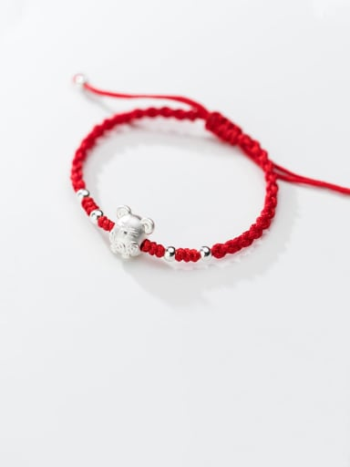 999  Fine Silver With  Cute  Mouse Red Rope Hand Woven Bracelets