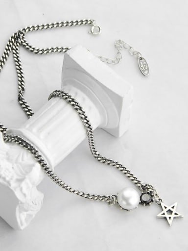 Vintage  Sterling Silver With Antique Silver Plated Simplistic Star Power Necklaces