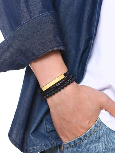 Stainless Steel With Black leather  Square Men's  Woven & Braided Bracelets