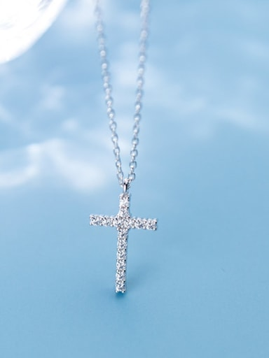 925 Sterling Silver With Platinum Plated Fashion Cross Necklaces