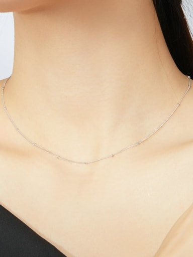 925 Sterling Silver With White Gold Plated Minimalist Necklaces