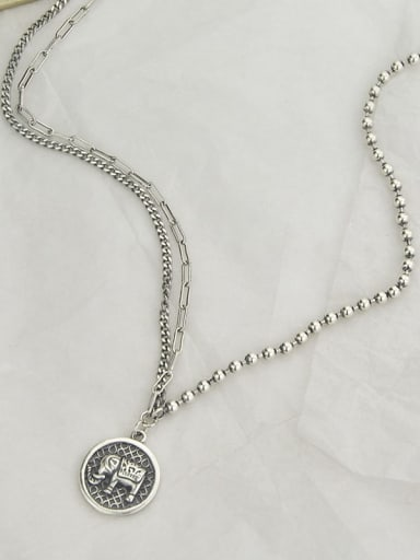 Vintage Sterling Silver With Antique Silver Plated Vintage Elephant Necklaces