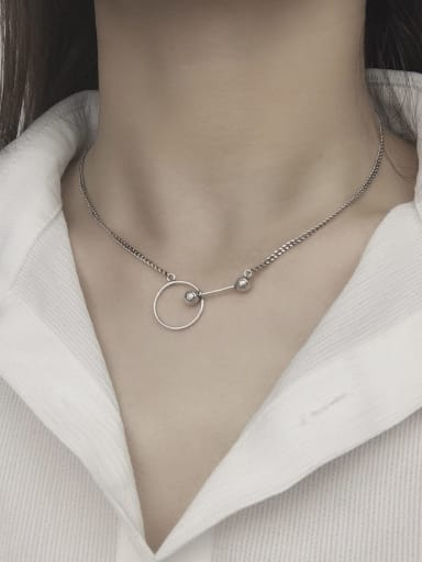 Vintage  Sterling Silver With Antique Silver Plated Simplistic Hollow Geometric Necklaces