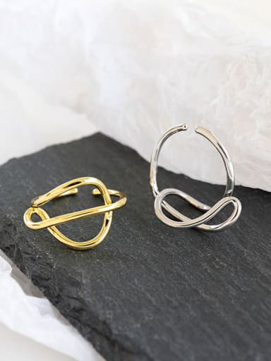 925 Sterling Silver With Gold Plated Simplistic Irregular Band Rings