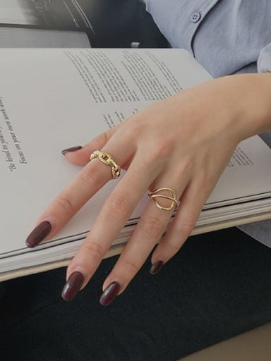 925 Sterling Silver With Gold Plated Fashion Hollow Geometric Free Size Rings