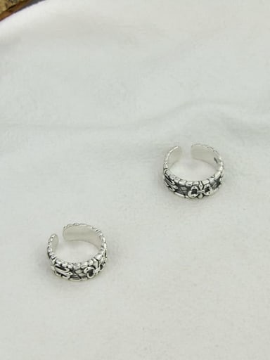 Vintage Sterling Silver With Antique Silver Plated Vintage Bowknot Free S ize Rings