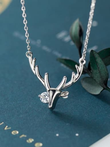 925 Sterling Silver With Platinum Plated Fashion Antlers Necklaces