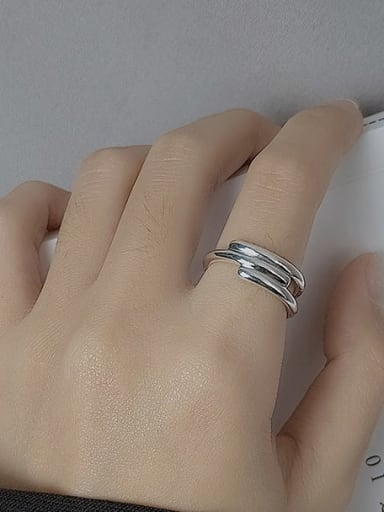 Vintage Sterling Silver With White Gold Plated Simplistic  Smooth Irregular Free Size Rings