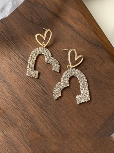 Alloy With Imitation Gold Plated Simplistic Irregular Flash Diamond Love  Cluster Earrings