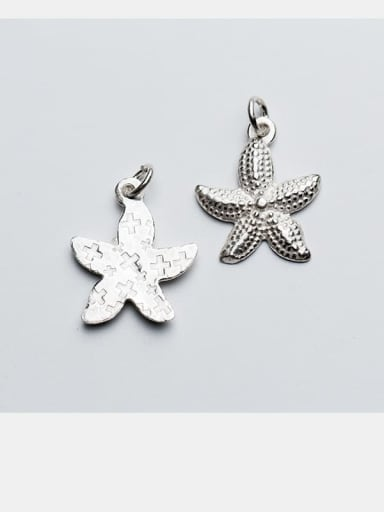 925 Sterling Silver With Black Gun Plated Cute Sea Star Pendant  DIY Jewelry Accessories