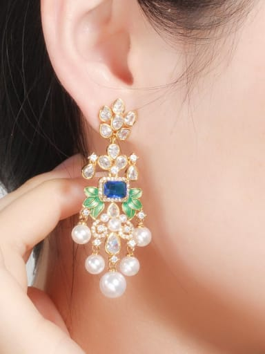 Copper With Gold Plated Luxury Geometric Chandelier Earrings