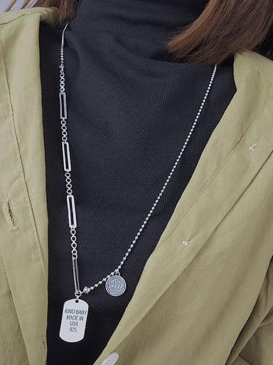 Vintage Sterling Silver With Platinum Plated Simplistic Geometric Power Necklaces
