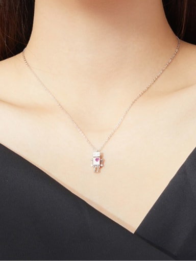 925 Sterling Silver With White Gold Plated Minimalist Love Robot Necklaces