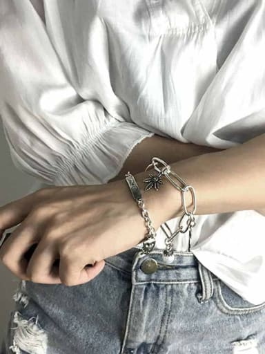 Vintage Sterling Silver With Simple Retro Hollow Chain Round Accessories Pendant Bracelets