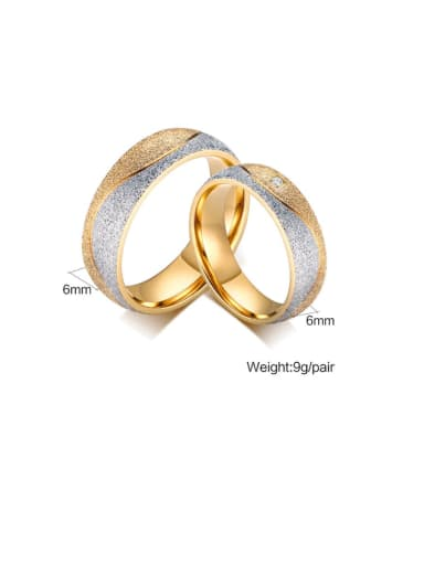 Stainless Steel With Gold Plated Simplistic Round Two-Tone Couple Band Rings