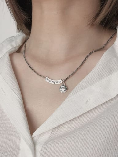 Vintage Sterling Silver With Platinum Plated Fashion Smiley Necklaces