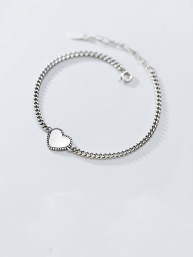 925 Sterling Silver With Gold Plated Simplistic Heart Bracelets