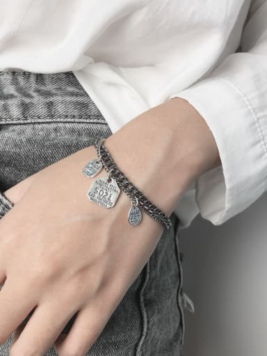 Vintage Sterling Silver With Simple Retro Letters Called Pendants Multi-layer Chain Bracelets