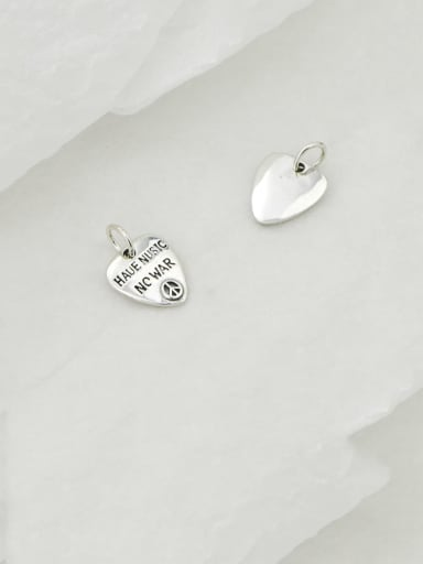 Vintage Sterling Silver With Simple Retro Heart Shaped Letters  Diy Accessories
