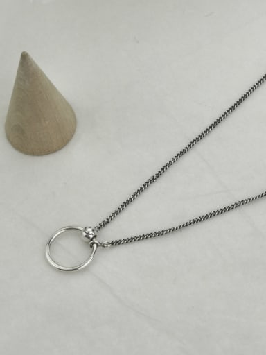 Vintage Sterling Silver With Antique Silver Plated Simplistic Hollow Round Necklaces