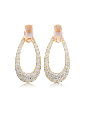 Copper With Rose Gold Plated Luxury Hollow Water Drop Drop Earrings