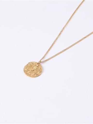 Titanium With Imitation Gold Plated Simplistic Round  Avatar Necklaces