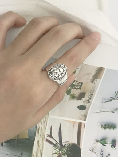 Vintage Sterling Silver With Platinum Plated Vintage Round Free Size Rings