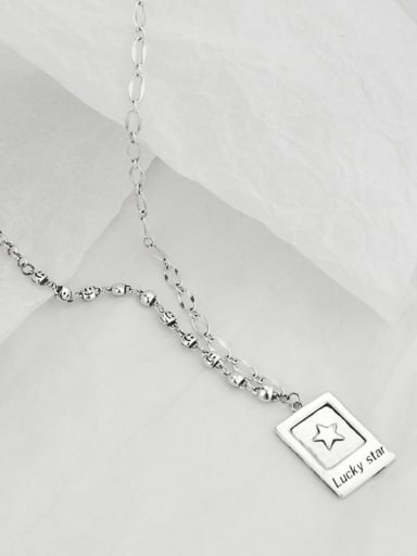 Vintage  Sterling Silver With Platinum Plated Simplistic Square Necklaces