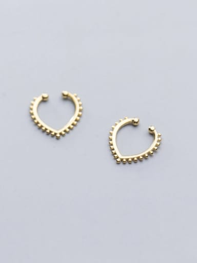 925 Sterling Silver With Platinum Plated Fashion Heart Clip On Earrings