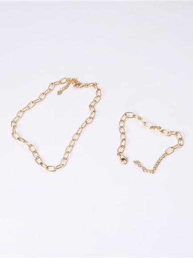 Titanium With Imitation Gold Plated Simplistic Chain Necklaces
