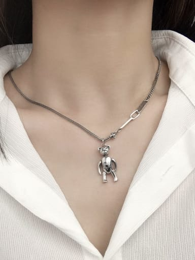 Vintage Sterling Silver With Antique Silver Plated Cute Little Bear Necklaces
