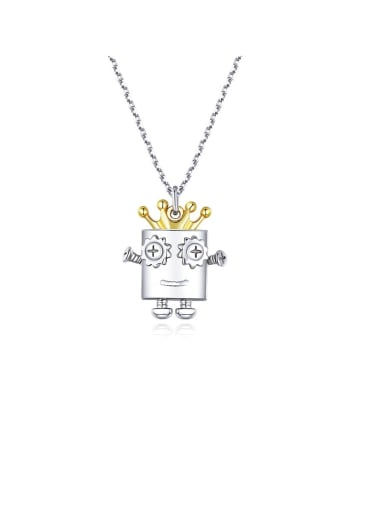925 Sterling Silver With White Gold Plated Cute Robot Necklaces